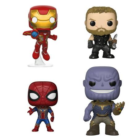 Funko POP! Marvel Avengers Infinity War Collectors Set 1 - Iron Man, Thor, Iron Spider & Thanos](Thor Vs Iron Man)