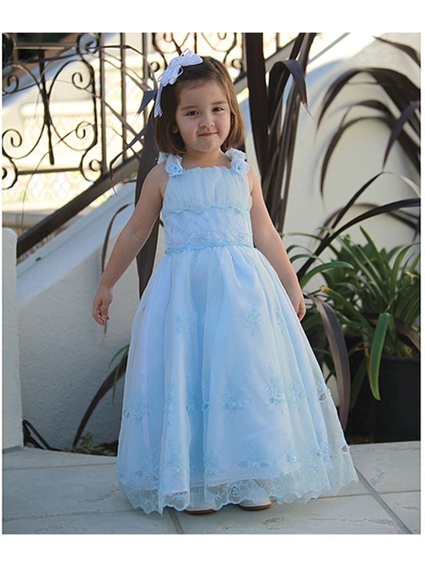 Angels Garment Blue Criss Cross Tie Back Easter Dress Little Girl 2T-6