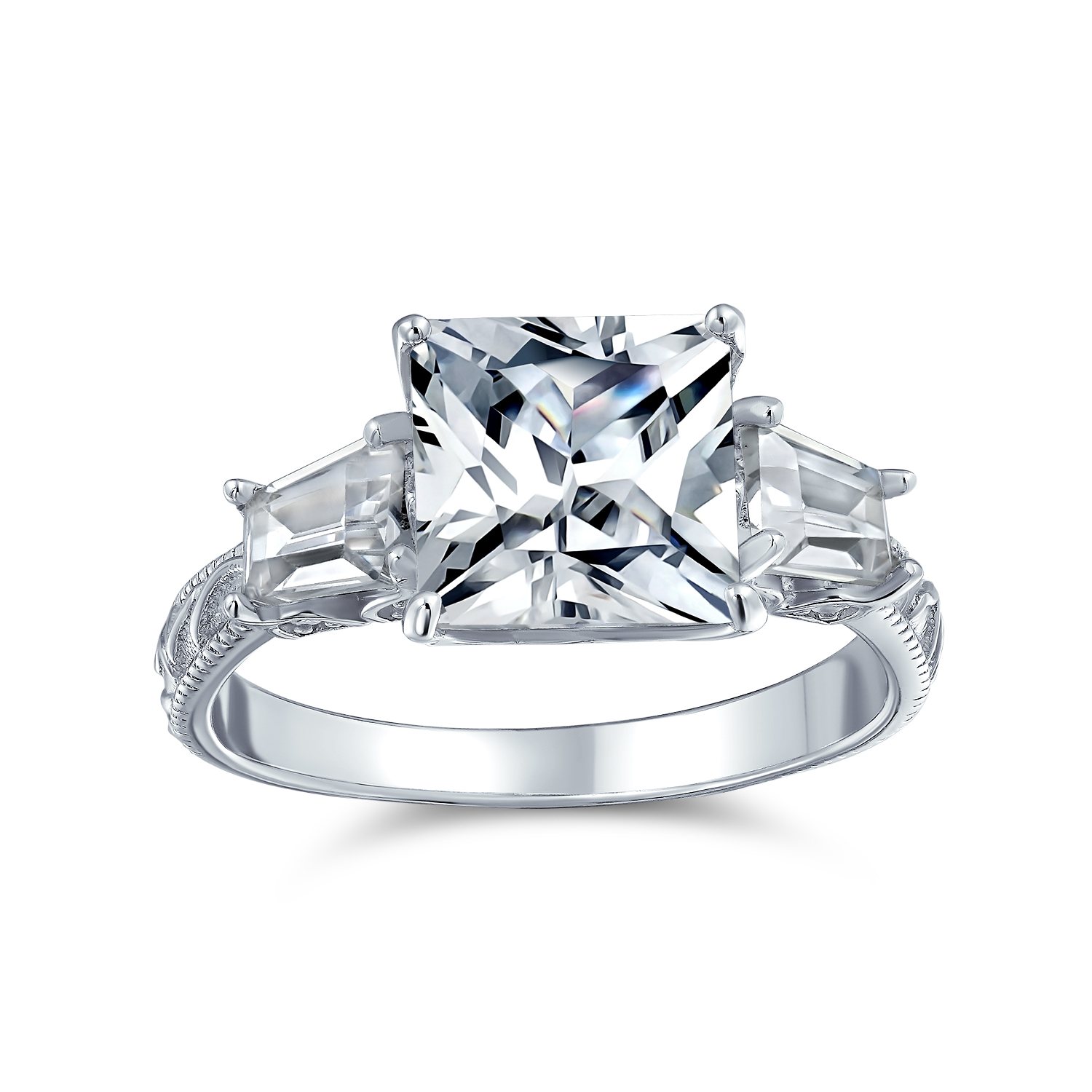 Round Cut Solitaire CZ 925 Sterling Silver Engagement Ring White Brilliant CZ
