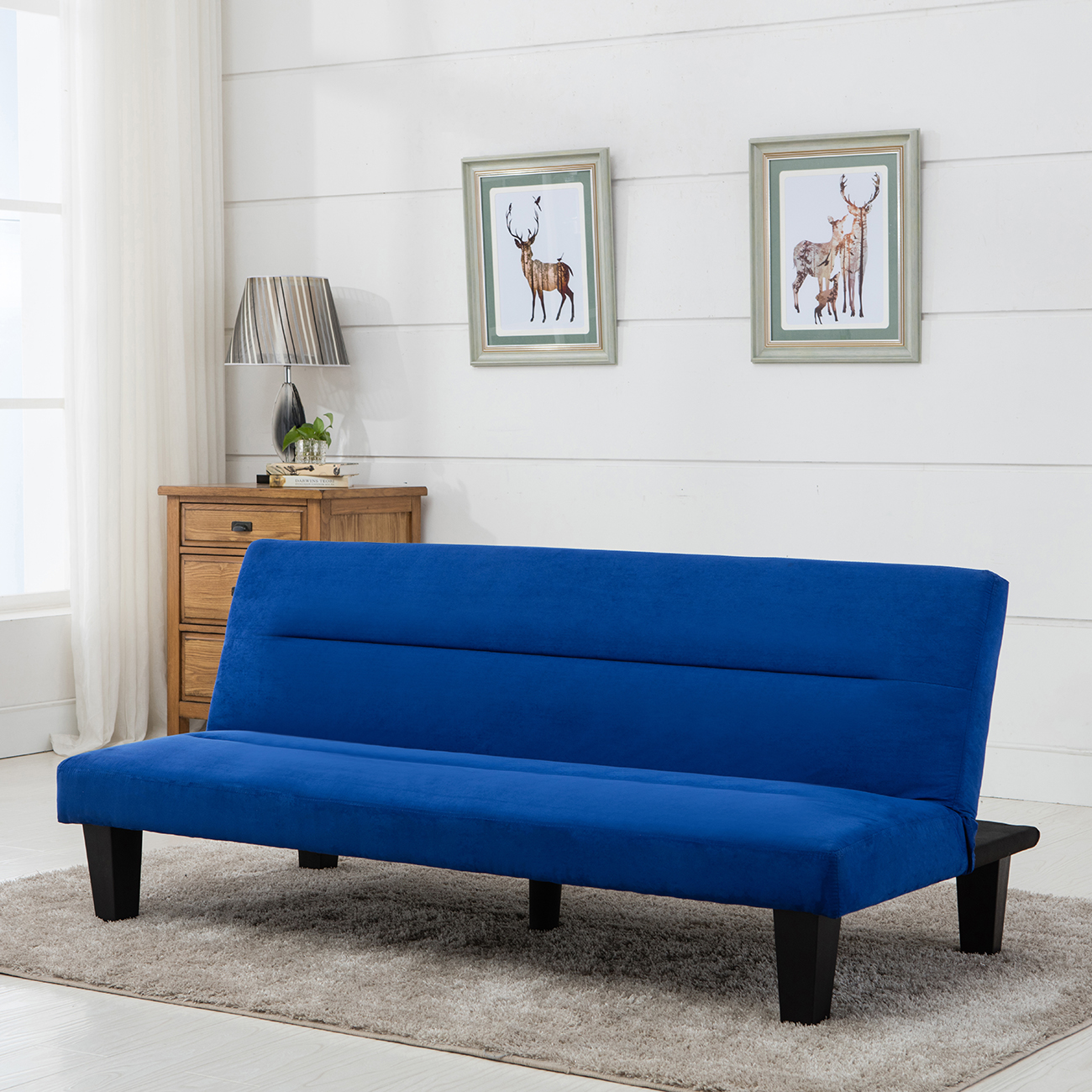 Belleze Convertible Sofa Adjustable Futon Bed Legs And Upholstered In Rich  Blue Microfiber   Walmart.com