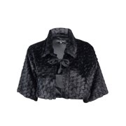 Marina Women's Collared Faux Fur Tie Front Bolero Jacket