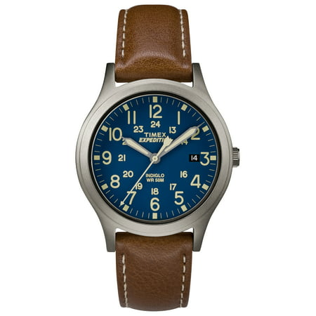 Expedition Scout 36 Brown/Titanium/Blue Watch, Leather Strap