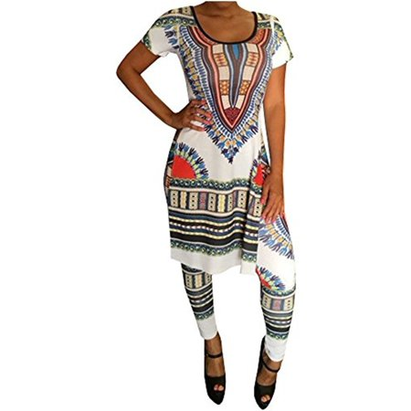Women Print 2 Pieces Set Summer Short Sleeve Bohemian Split Dress & Leggings Suit