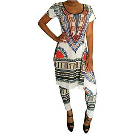 Women Print 2 Pieces Set Summer Short Sleeve Bohemian Split Dress & Leggings (Two Piece Dress Suit)