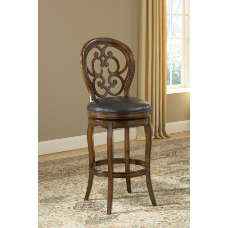 Fantastic Alexandra Swivel Stool In Dark Tobacco W Black Leather Seat 24 In Onthecornerstone Fun Painted Chair Ideas Images Onthecornerstoneorg