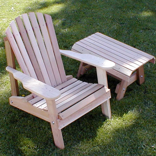 Creekvine Designs Cedar Furniture and Accessories Wood Adirondack Chair with Table