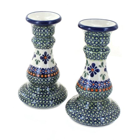 Polish Pottery Mosaic Flower Candlestick Pair