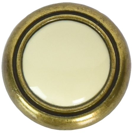 15403 1 1/4-Inch First Family Knob, Almond/Antique Brass, Includes Mounting Hardware By Laurey