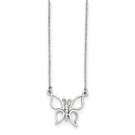 Mia Diamonds 14k White Gold Polished Butterfly Necklace Diamond Butterfly Pendant Jewelry