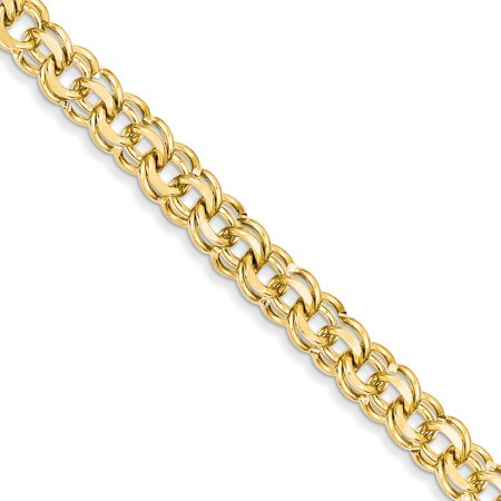 14kt Yellow Gold 8 Inch 8.5mm Solid Double Link Charm Bracelet Fine Jewelry Ideal Gifts For Women Gift Set From Heart 14k Solid Gold Charm Bracelet