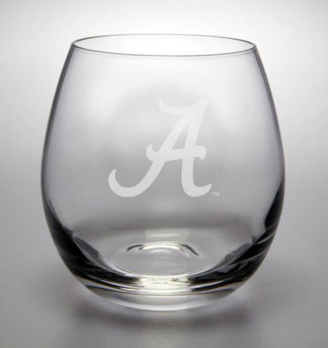 "NCAA - Alabama Crimson Tide ""A"" 11.5 oz Deep Etched Stemless White Wine Glass"