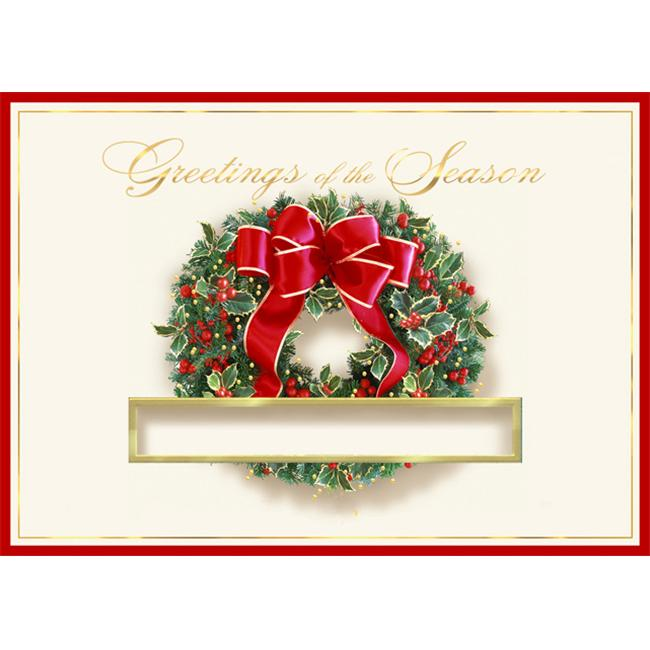 Birchcraft Studios 3568 Die-Cut Wreath - Gold Lined Envelope with Ecru Lining - Red Ink - Pack of 25