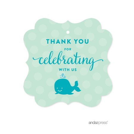 Thank You For Celebrating With Us! Navy Blue Boy Whale Nautical Baby Shower Fancy Frame Gift Tags, 24-Pack - Baby Shower Thank You Gifts For Guests