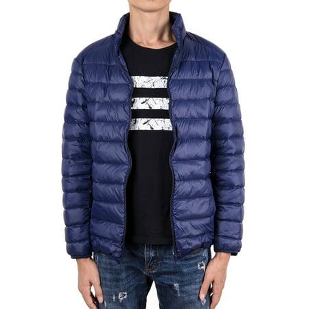 Big & Tall Men's Packable Down Jacket Windbreak Stand Collar Coats Winter Warm Puffer Bubble Jacket Outerwear Snow Coat - Stand Collar Coat