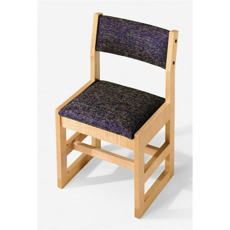 Class Act 15 in. Armless Chair (Medium Mahogany, Grape in Sherpa Pattern)