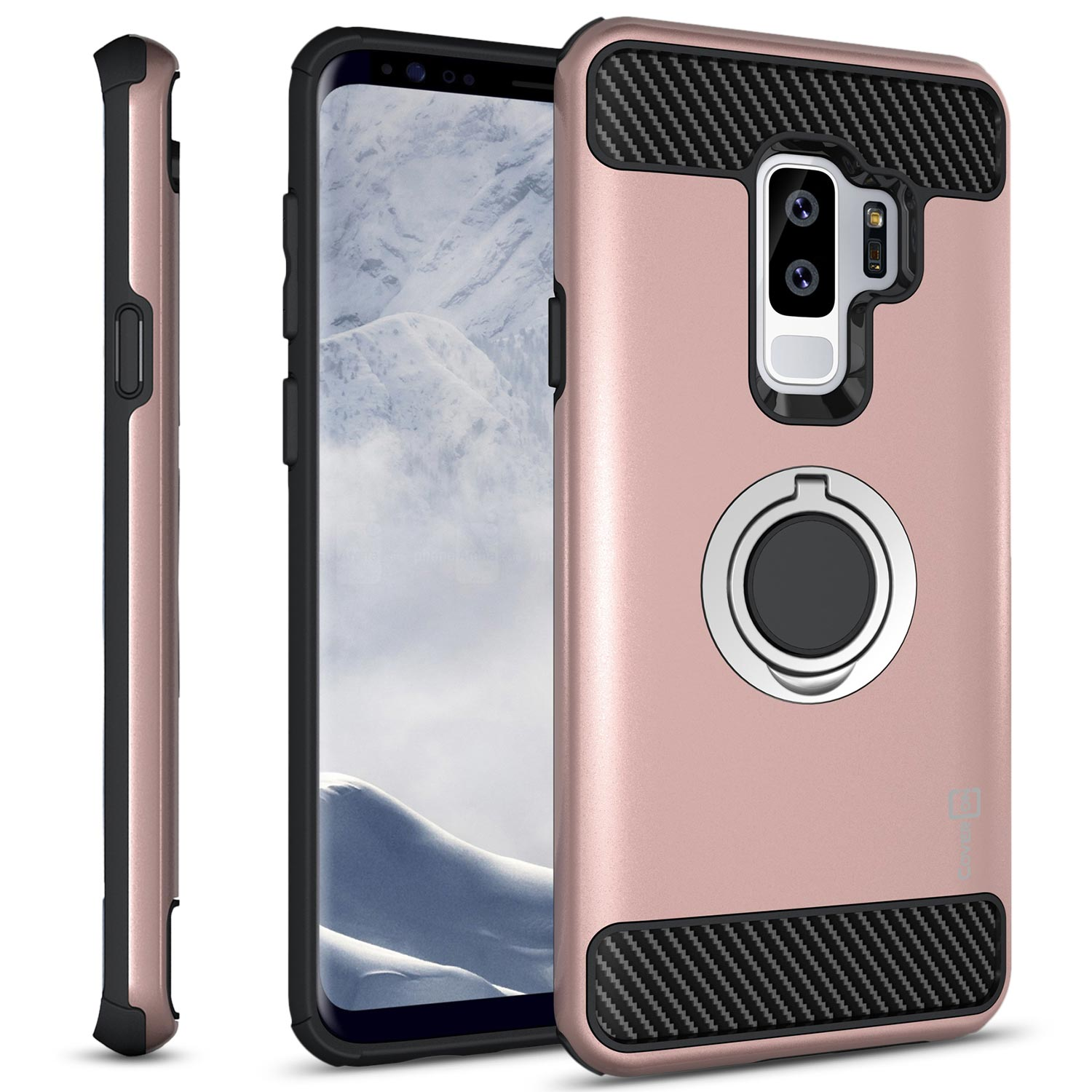 CoverON Samsung Galaxy S9 Plus Case with Ring Holder, RingCase Series Hybrid Protective Dua Layer Phone Cover