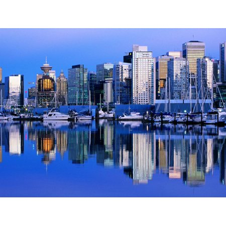 City Skyline and Coal Harbour, Dusk, Vancouver, Canada Print Wall Art By David Tomlinson
