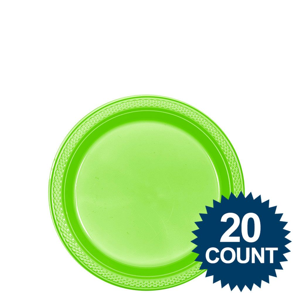 """Lime Plastic Plates, 7"""" (20 count) - Party Supplies"""