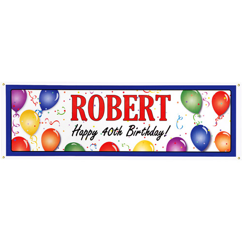 Personalized Balloon Birthday Banner, 6' Long