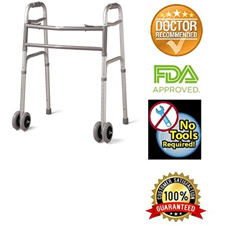Bariatric Heavy-Duty Folding Walker with Wheels for Seniors, Adult, Extra Wide, Front Wheel Walker (2 Wheel 5 Inch), Size for Adults up to 450 lbs