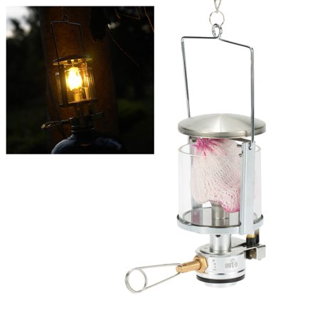 Mini Portable Camping Lantern Gas Light Tent Lamp Torch Hanging Glass Lamp Chimney with Butane as Fuel 60LUX