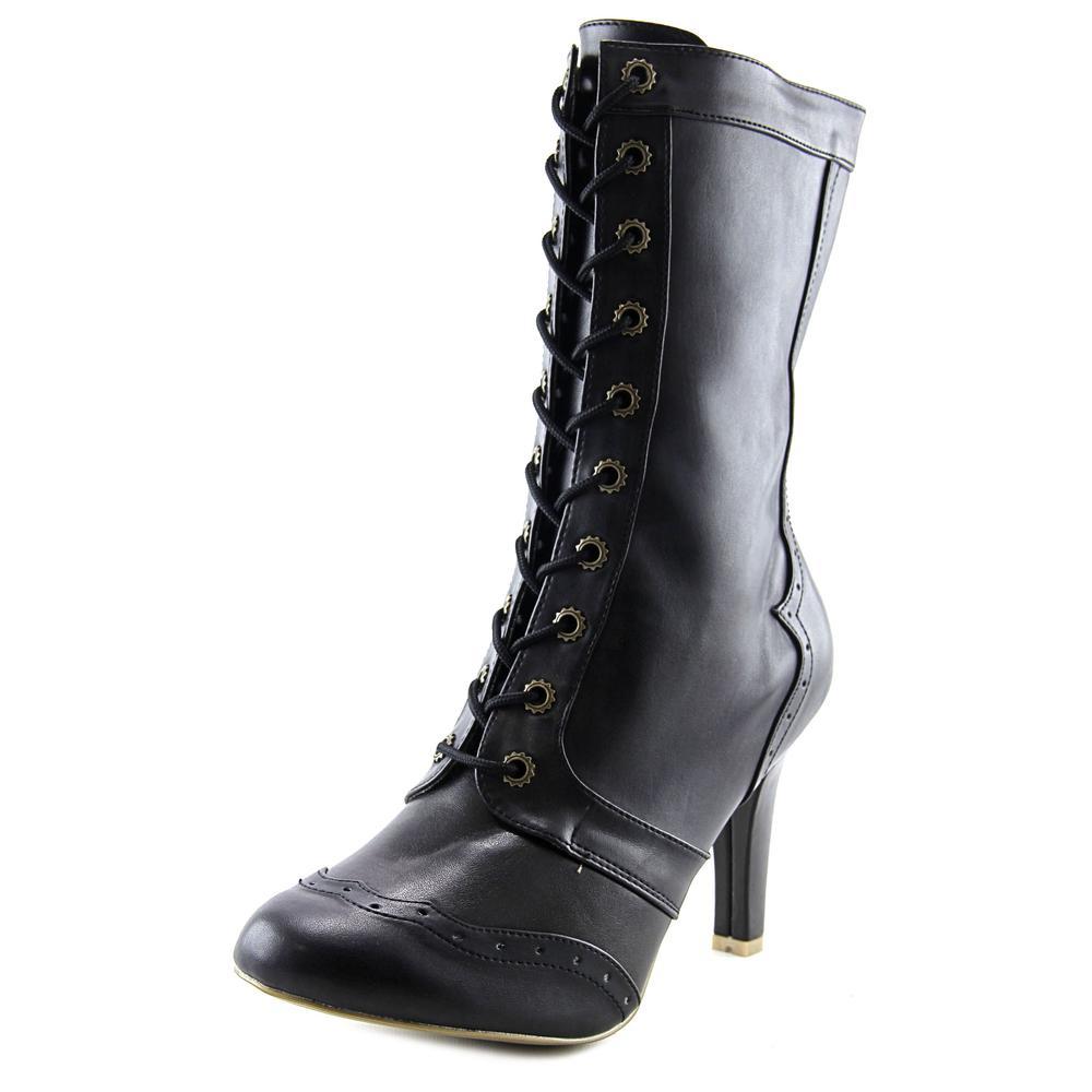 Demonia Tesla-102 Women Round Toe Synthetic Black Mid Calf Boot by Demonia