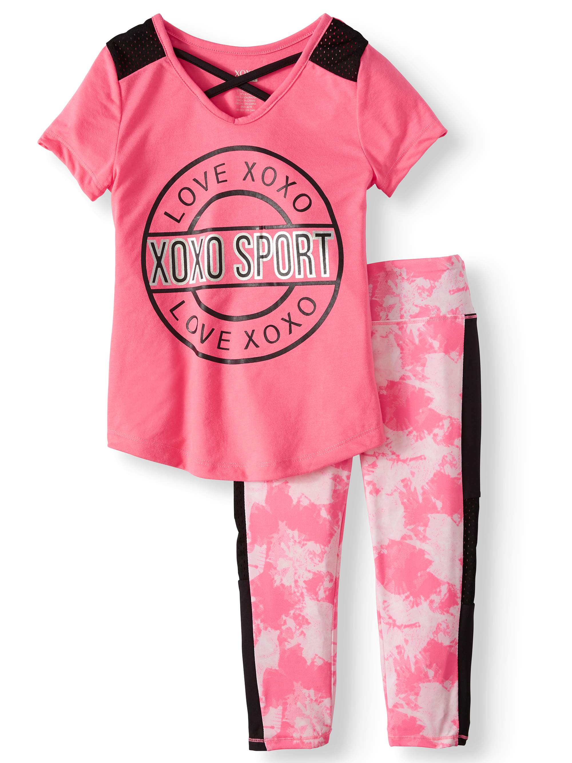 Sport Love Mesh Insert Top and Performance Capri Legging, 2-Piece Active Set (Little Girls & Big Girls)