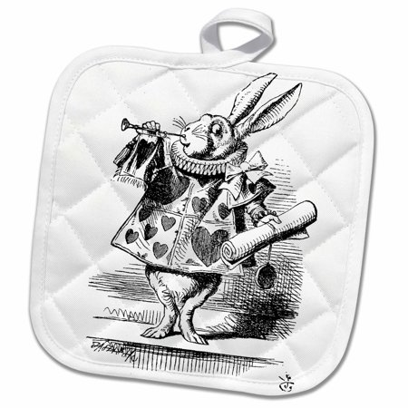 3dRose Alice in Wonderland White Rabbit in costume. John Tenniel illustration - Pot Holder, 8 by 8-inch - Alice In Wonderland Costume White Rabbit