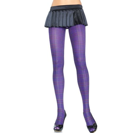 Women's Opaque Paper Print Plaid Tights, Purple, One Size