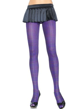 292332d4f3a86 Product Image Women's Opaque Paper Print Plaid Tights, Purple, One Size