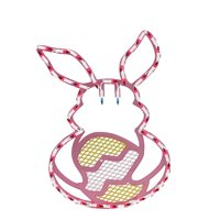 "18"" Lighted Pink Bunny with Easter Egg Window Silhouette Decoration"