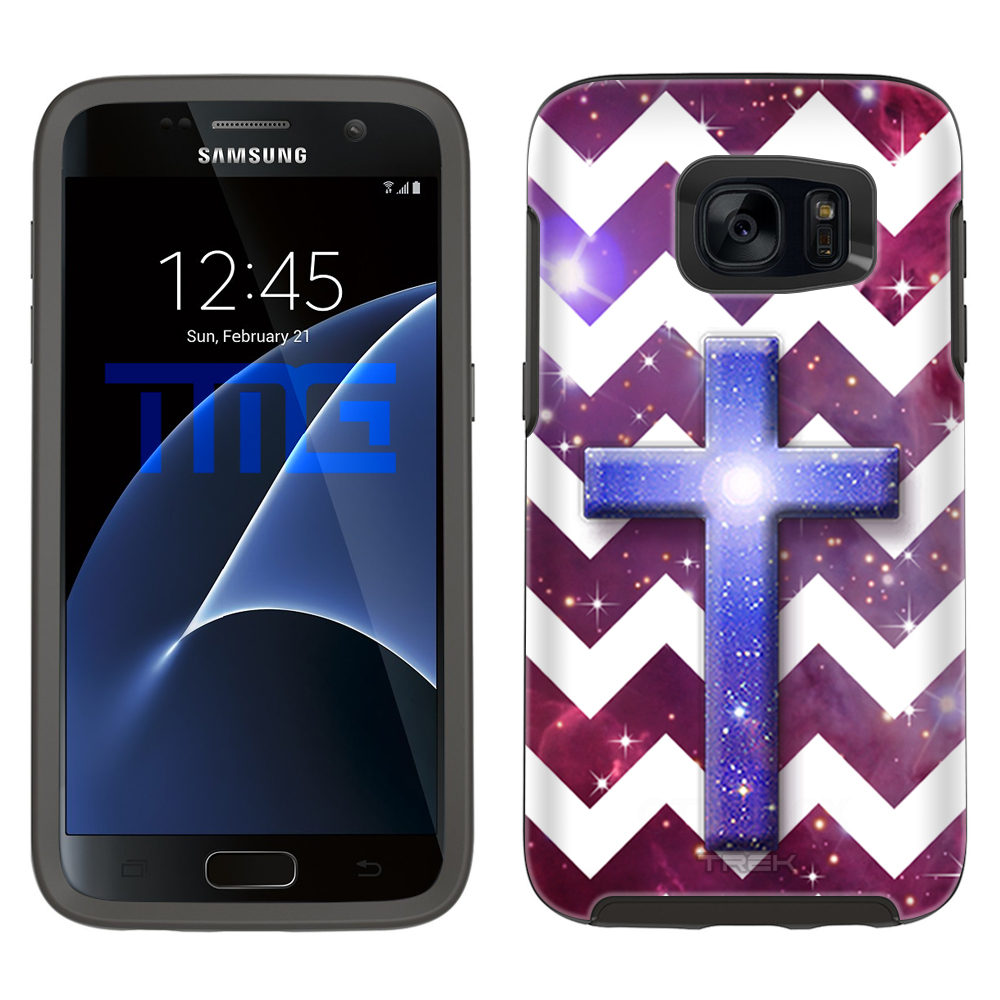 SKIN DECAL FOR OtterBox Symmetry Samsung Galaxy S7 Case - Cross on Chevron White Black on Nebula DECAL, NOT A CASE