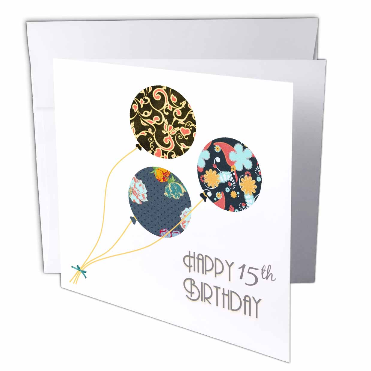 3dRose Happy 15th Birthday - Modern stylish floral Balloons. Elegant black brown blue 15 year old Bday, Greeting Cards, 6 x 6 inches, set of 12