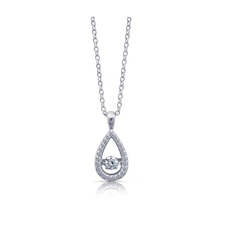 Gemour Platinum Plated Sterling Silver Swarovski Zirconia Pave-set Teardrop Dancing Pendant, 16
