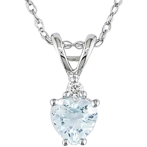 "Tangelo 3 8 Carat T.G.W. Aquamarine Heart and Diamond Accent 10kt White Gold Pendant, 17"" by Delmar Manufacturing LLC"