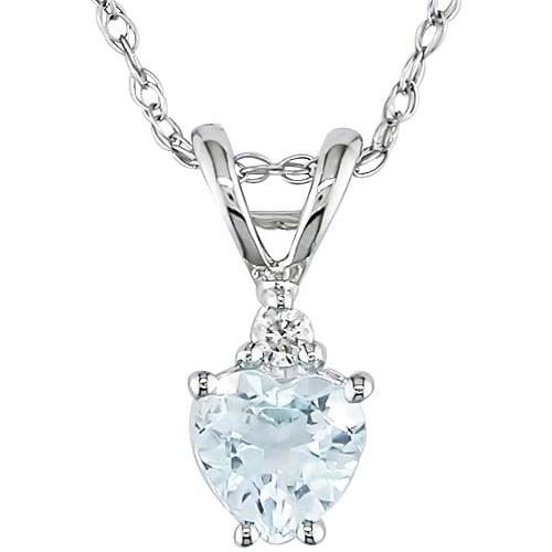 Tangelo 3/8 Carat T.G.W. Aquamarine Heart and Diamond Accent 10kt White Gold Pendant, 17