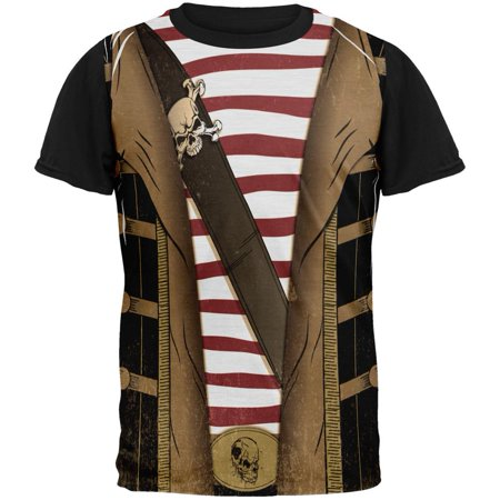 Halloween Grunge Pirate Costume All Over Mens Black Back T Shirt (Mens Pirate Costume)
