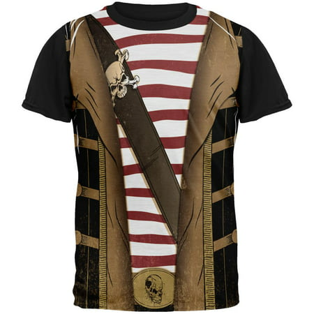 Pirate Halloween Costumes Men (Halloween Grunge Pirate Costume All Over Mens Black Back T)