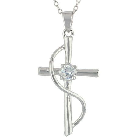 Stone Set Shamrock Pendant (Truly Radiant Prong-Set CZ Stone Sterling Silver Cross Pendant Necklace, 18