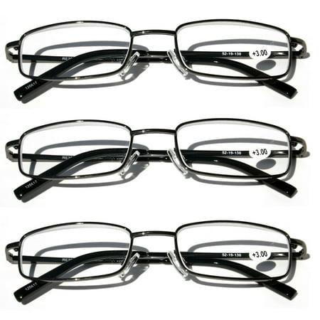 V.W.E. Readers 3 Pack of Thin Slim Rectangular Metal Aviator Reading Glasses with Spring hinge - High (Rectangular Face Glasses)