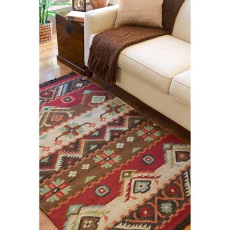 Hand woven red tan southwestern aztec louise wool for Living room rugs 6x9