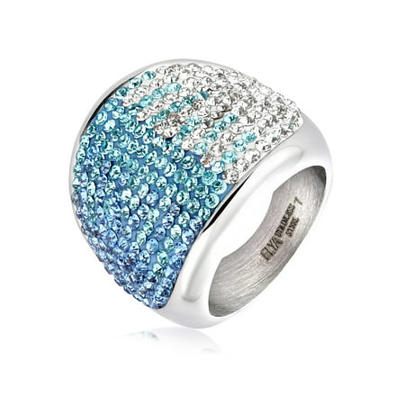 Clear Crystal Cocktail Ring - ELYA Stainless Steel Colored Crystal Cocktail Ring