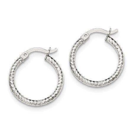 2mm Small Hoop Earrings (2mm Sterling Silver Polished Sparkle-Cut Small Hoop Earrings )