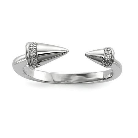 Mia Diamonds 925 Sterling Silver Rhodium-Plated Cubic Zirconia (CZ) Spike Ring Size - (Diamond Spike)