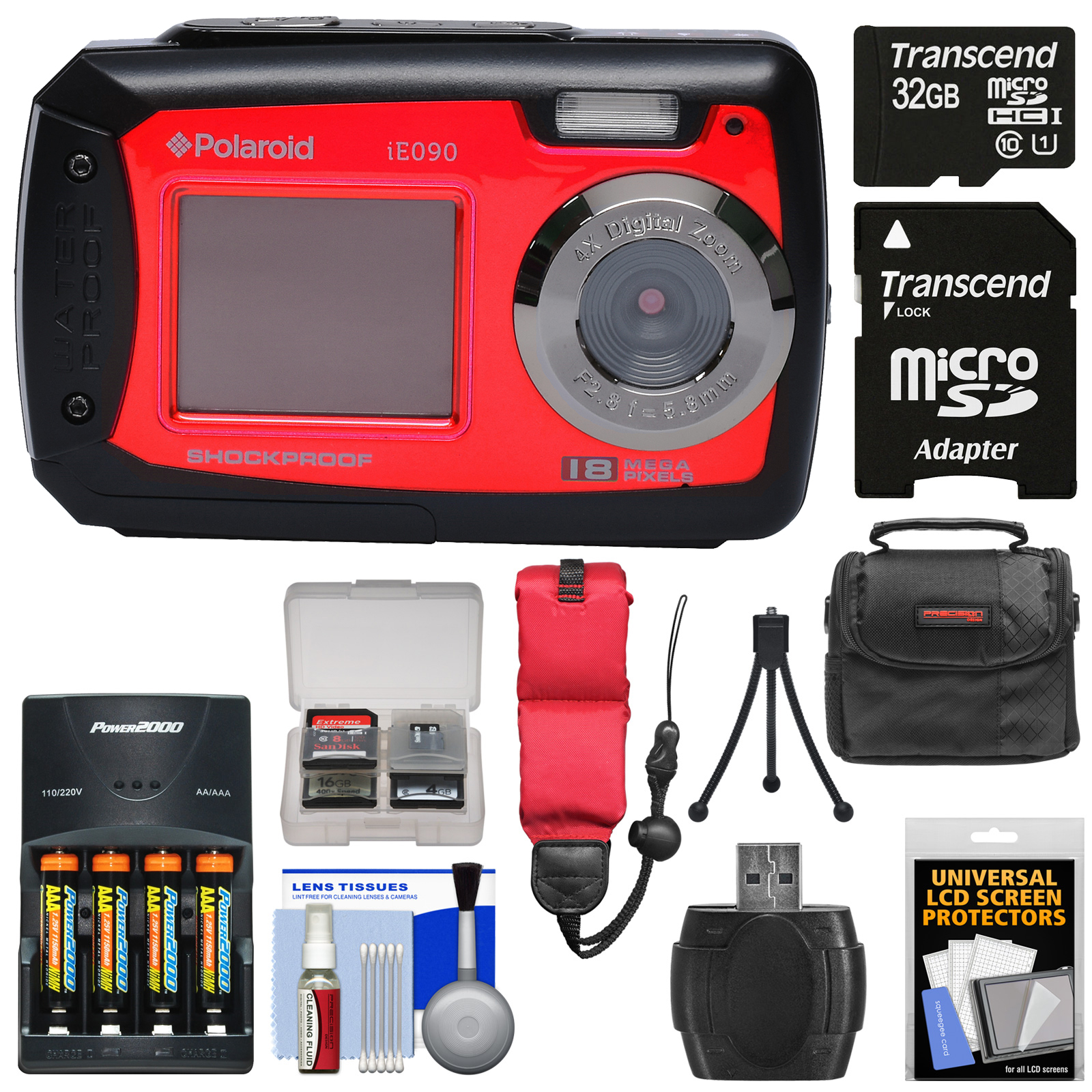 Polaroid iE090 Dual Screen Shock & Waterproof Digital Camera (Red) with 32GB Card + Batteries & Charger + Case + Strap + Tripod + Kit
