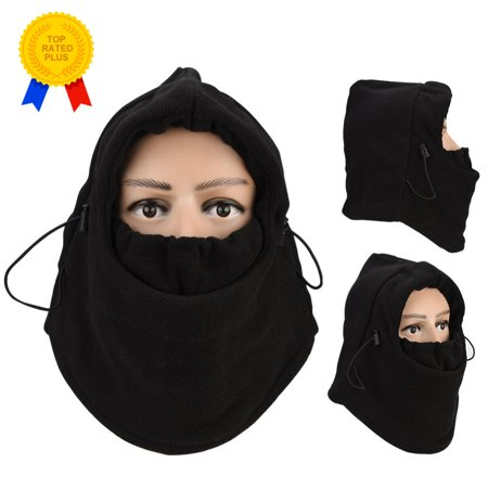 HERCHR 6 in 1 Thermal Fleece Balaclava Hat Hood Police Swat Ski Riding Wind Stopper Mask Cap
