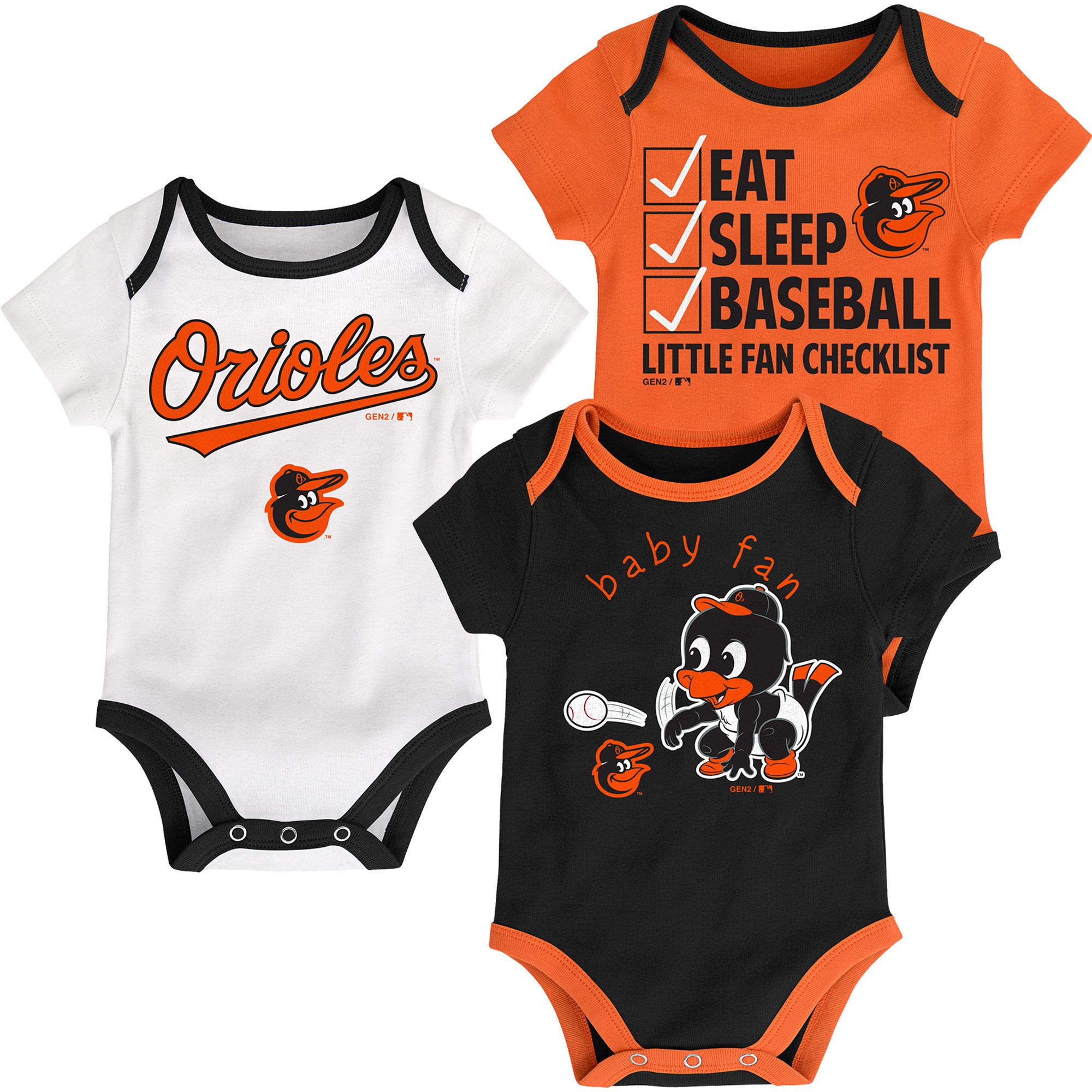 Baltimore Orioles Infant Play Ball Three-Pack Bodysuit Set - Black/Orange/White