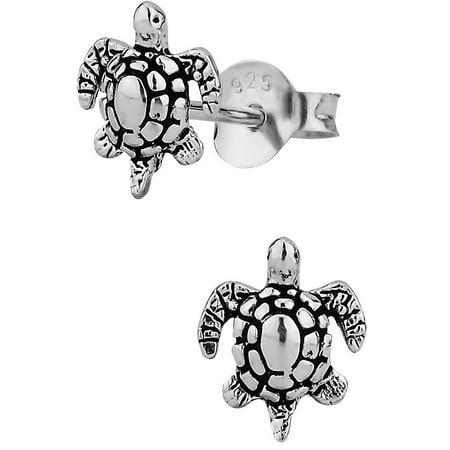 Silver Sea Turtle Earrings - Hypoallergenic Sterling Silver Tiny Sea Turtle Stud Earrings for Kids (Nickel Free)