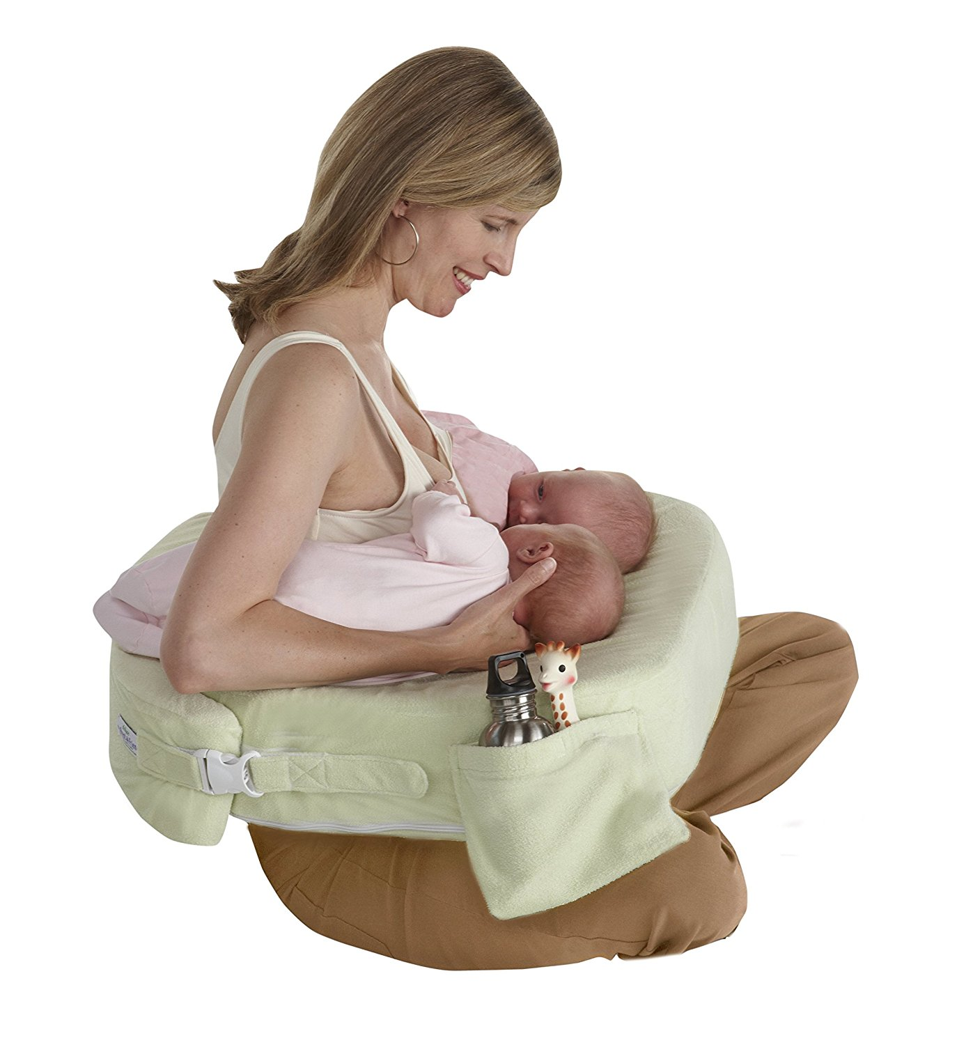 Twins Plus Deluxe Nursing Pillow, Green, 0-12 Months, Ship from America by My Brest Friend