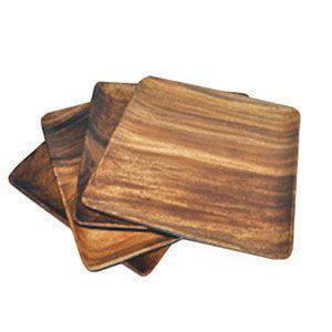 Pacific Merchants Trading Acaciaware 7-Inch Acacia Wood Square Plate, set of 4 (Acacia Wood Plates)